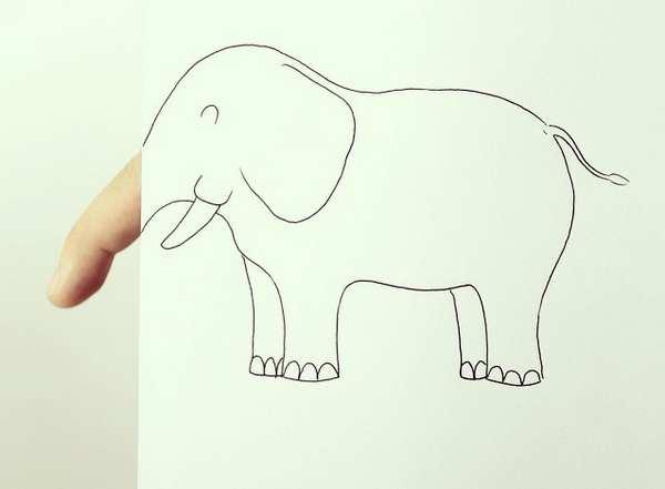 一组简单生动的创意动物涂鸦